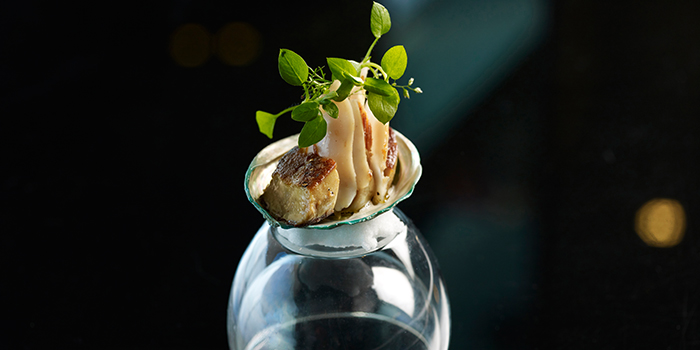 Live Jade Abalone Foie Gras Morel from Stellar at 1-Altitude in Raffles Place, Singapore