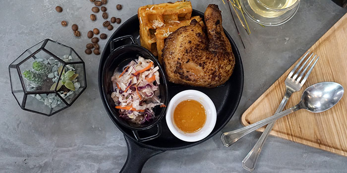 Peking Chicken Confit Waffles from Montana Singapore in Dhoby Ghaut, Singapore