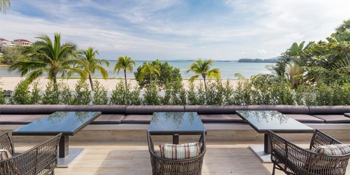 Outdoor Dining Area of Phuket Marriott Resort and Spa, Nai Yang Beach, Phuket, Thailand.