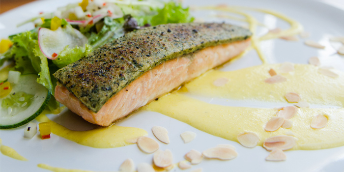 Almond & Herb Crusted Salmon with Asparagus & Herbed Creme Fraiche from Rustic-Eatery & Bar in Patong, Kathu, Phuket, Thailand
