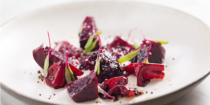 Baked beets, dried thyme quinoa