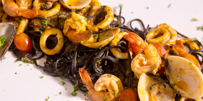 Black Spaghetti with Seafood from Toto Ristorante Italiano in Cherngtalay, Talang, Phuket, Thailand