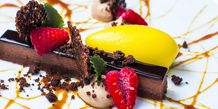 Chocolate Gateau with Raspberry & Passionfruit Sorbet from Chef