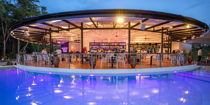 Evening Atmosphere of Cut Grill & Lounge in Lagoon Road, Boat Avenue, Cherngtalay, Talang, Phuket, Thailand