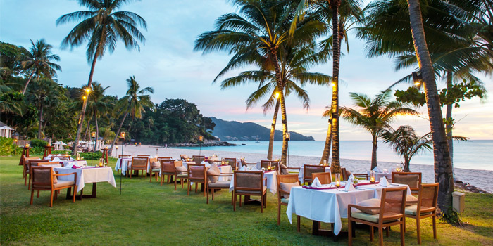 Evening Atmosphere of Beach Restaurant in Cherngtalay, Thalang, Phuket, Thailand