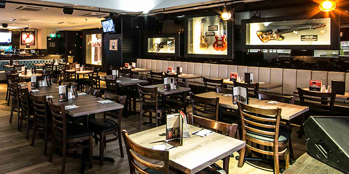 Interior of Hard Rock Cafe (Cuscaden) at HPL House in Tanglin, Singapore