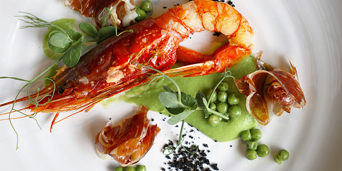 Sicilian Prawn and Jamon Iberico with Pea Puree from Chef