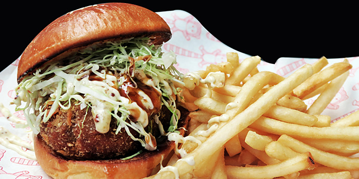 Menchi Katsu Burger from Red Tail Bar in Clarke Quay, Singapore