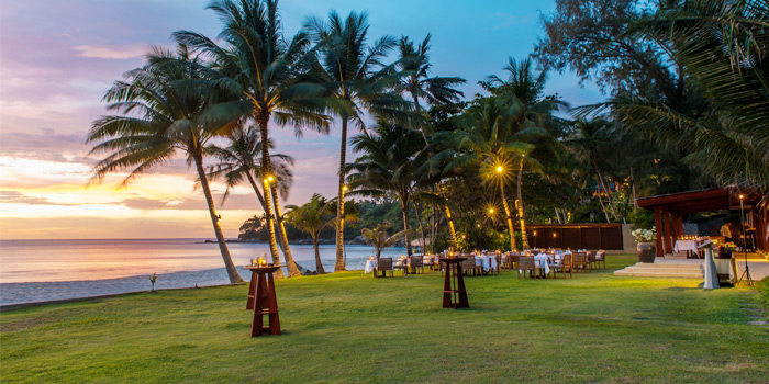 Romantic Setup of Beach Restaurant in Cherngtalay, Thalang, Phuket, Thailand