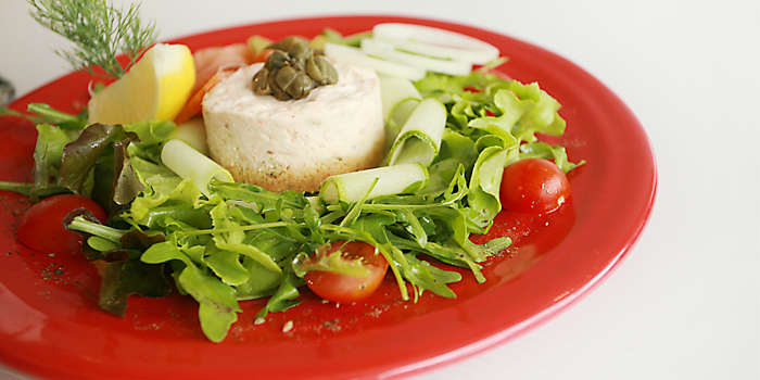 Salmon Cheese Cake on a bed of Lemon Vinaigrette Tossed Rocket from Les Diables in Boat Lagoon, Koh Kaew, Muang Phuket, Thailand