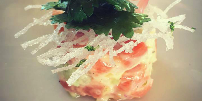 Salmon Tartare with Fried Glass Noodle from Breeze at Cape Yamu in Paklok, Thalang, Phuket, Thailand