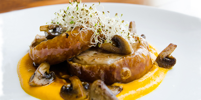 Slow Roasted Porchetta with Mushrooms & Roasted Carrot Puree from Rustic-Eatery & Bar in Patong, Kathu, Phuket, Thailand