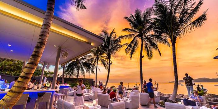 Sunset of Palm Seaside on Bangtao Beach, Phuket, Thailand