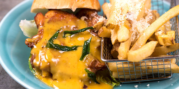 Salted Egg Lava Chicken Burger from The Armoury in Bugis, Singapore