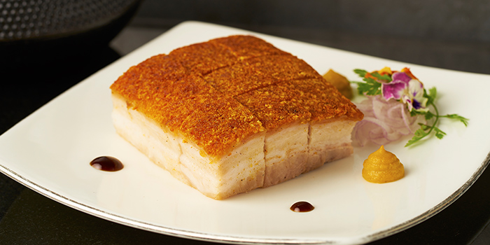 Five Spice Roasted Australian Yorkshire Pork Belly from Cassia serving Chinese cuisine at Capella Hotel on Sentosa Island, Singapore