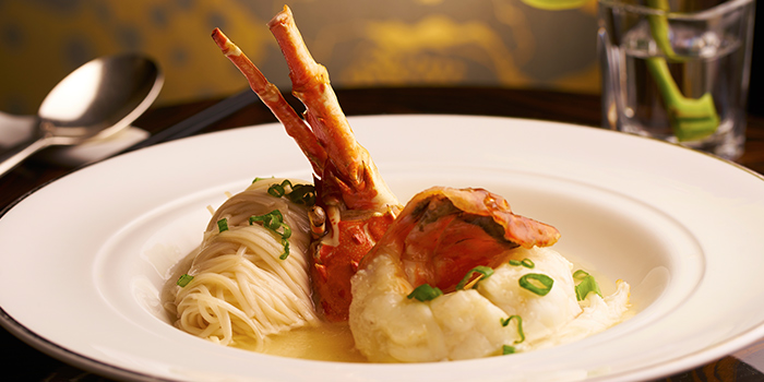 Handmade Noodles with Lobster in Superior Stock from Cassia serving Chinese cuisine at Capella Hotel on Sentosa Island, Singapore