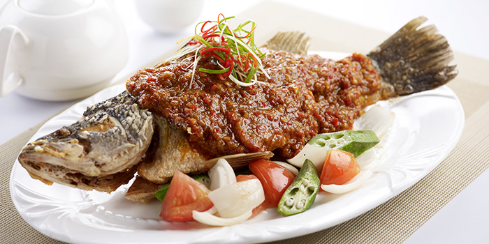 Crispy Seabass with Lemak Chinchalok Chilli Sauce from Ocean Spoon Dining (SAF Yacht Club) in Sembawang, Singapore