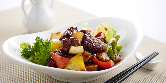 Stir Fried Beef with Black Pepper Sauce from Ocean Spoon Dining (SAF Yacht Club) in Sembawang, Singapore