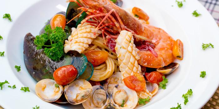 Spaghetti Phuket Seafood from Capri Noi Restaurant in Karon, Phuket, Thailand.