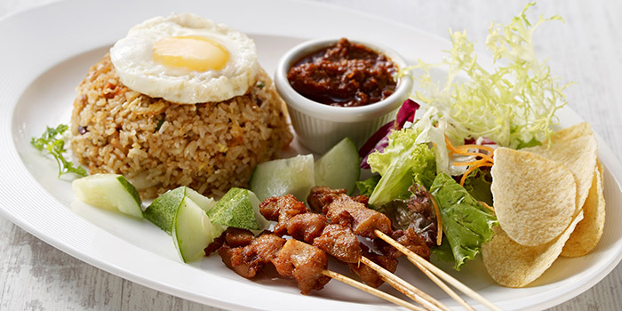 Nasi Goreng with Prawns and Chicken Satay from Eatzi Gourmet Bistro (ITE Ang Mo Kio) in Ang Mo Kio, Singapore
