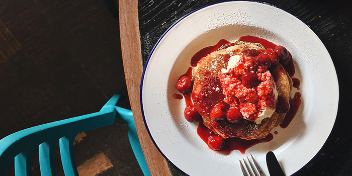 Buttermilk Pancakes with Marinated Berries & Homemade Sauce from The Lokal in Chinatown, Singapore