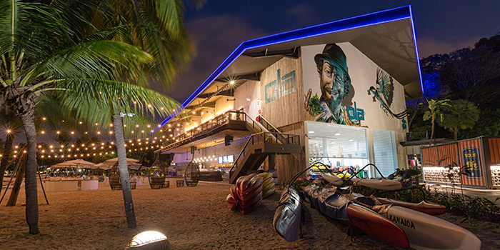 Facade of Ola Beach Club at Siloso Beach in Sentosa, Singapore