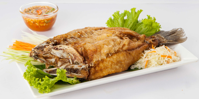 Deep Fried Snapper with Chili and Lemon Sauce from Zabtaetae Thai Spicy Restaurant in Maung, Phuket, Thailand