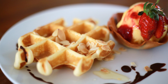 Dream Beach Waffles and home made  ice cream from Dream Beach Club in Layan, Phuket, Thailand