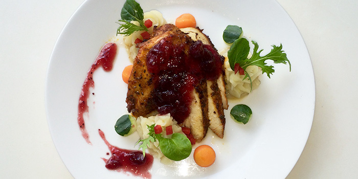 Roasted Chicken with Cherry Sauce from Espressolab at China Square Central in Raffles Place, Singapore