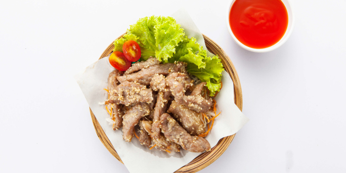 Fried Dried Pork from Zabtaetae Thai Spicy Restaurant in Maung, Phuket, Thailand