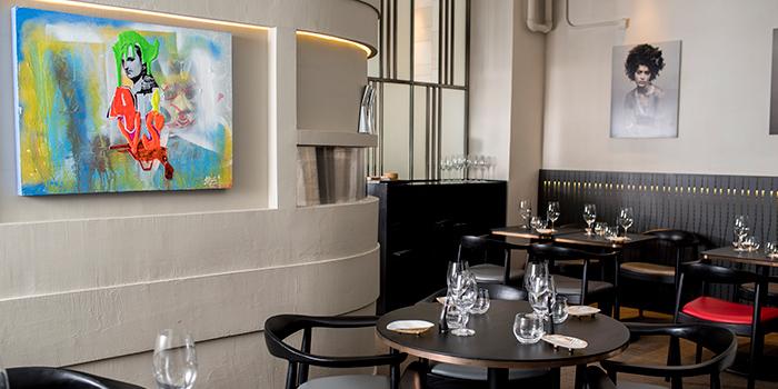Interior of restaurant Akrame, Wan Chai, Hong Kong