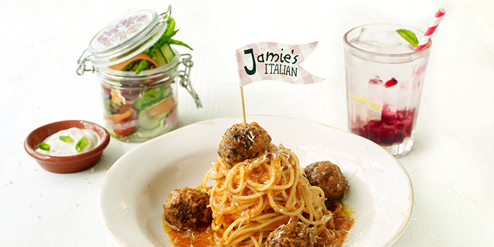 Mini Spaghetti & Meatballs (Kids Menu) from Jamie