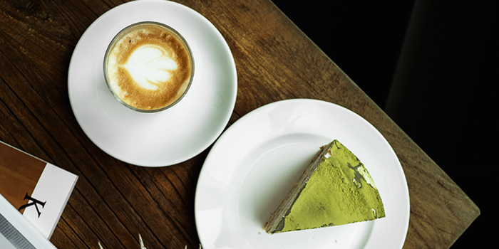 Matcha Cake & Latte from Kith Cafe (Winsland House II) in Orchard, Singapore