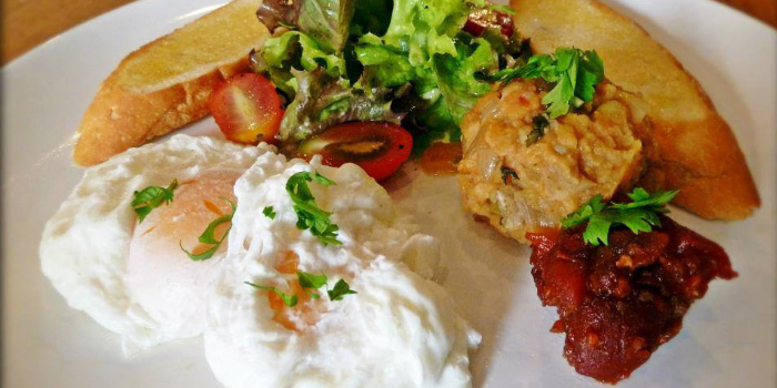 Poached Egg with Spicy Potato from ELLA Bar & Bistro in Patong, Phuket, Thailand.