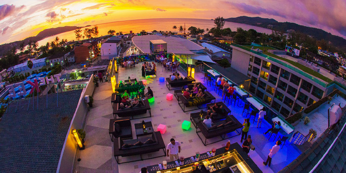 Rooftop Ambience of KEE Sky Lounge in Patong, Phuket, Thailand