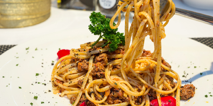 Spaghetti Bolognese from White Box Restaurant in Patong, Kathu, Phuket, Thailand