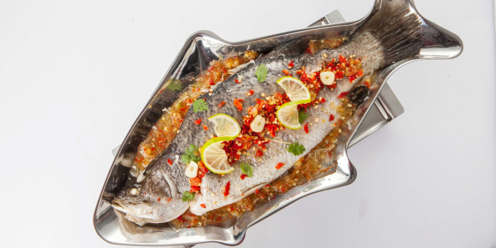 Steamed Snapper with Chili and Lemon Sauce from Zabtaetae Thai Spicy Restaurant in Maung, Phuket, Thailand