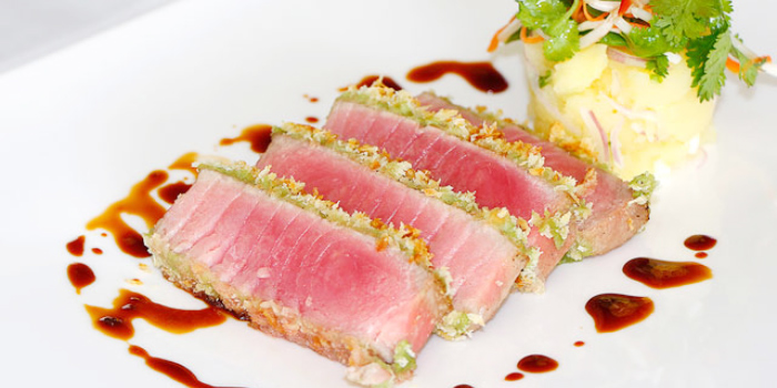 Wasabi Crusted Tuna Steak & Ginger Soya Reduction from KEE Sky Lounge in Patong, Phuket, Thailand