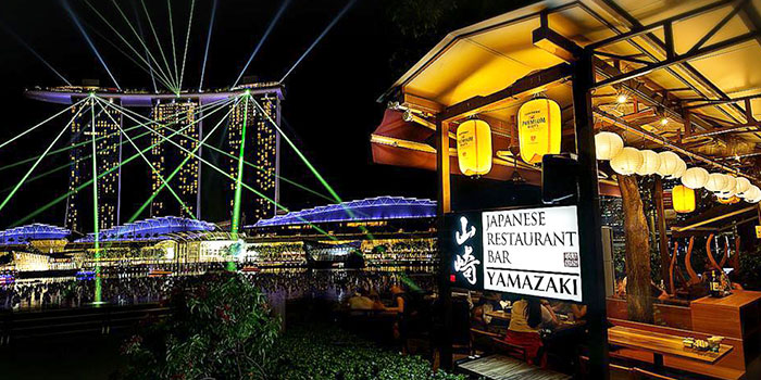 Exterior of Yamazaki Japanese Restaurant in One Fullerton in Raffles Place, Singapore