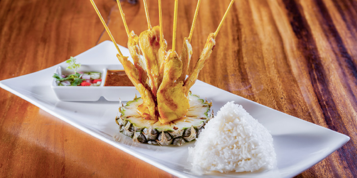 Chicken Satay from Laimai Courtyard Restaurant and Bar in Patong, Phuket, Thailand.