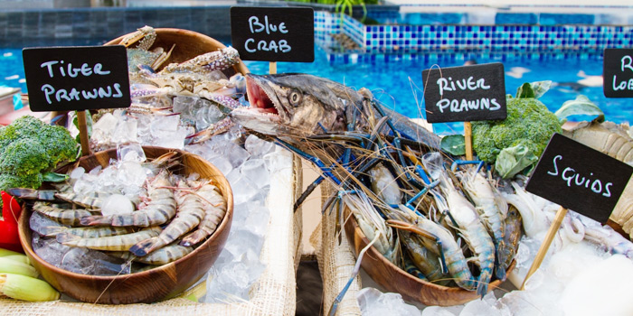 Grand Seafood Barbecue from Bubbles Restaurant in Patong, Phuket, Thailand.