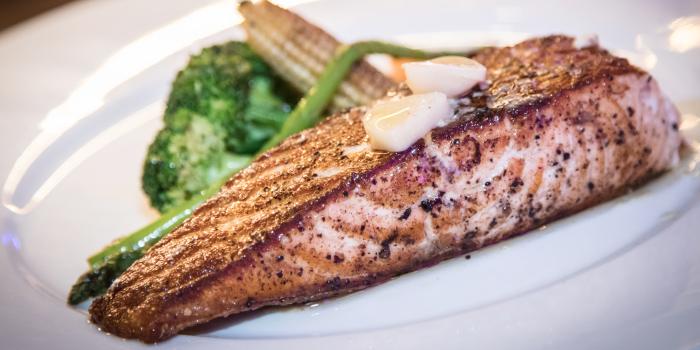 Grilled Salmon Steak from Catch Beach Club in Bangtao Beach, Cherngtalay, Phuket, Thailand.