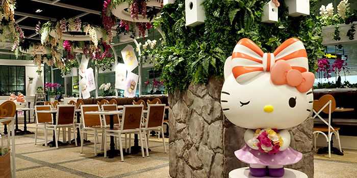 Dining Area of Hello Kitty Orchid Garden at Changi Airport Terminal 3 in Changi, Singapore