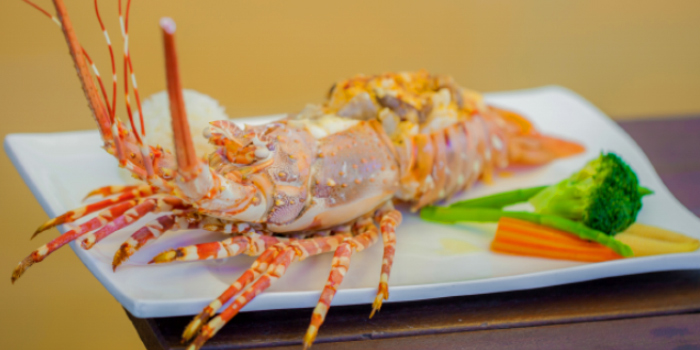 Lobster Thermidor from Laimai Courtyard Restaurant and Bar in Patong, Phuket, Thailand.