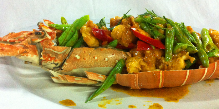 Wok-Fried Lobster in Red Curry from Laimai Courtyard Restaurant and Bar in Patong, Phuket, Thailand.