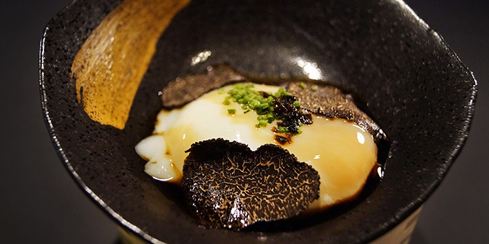 Onsen-Style Egg with Port Wine & Shaved Truffle from Le Binchotan in Tanjong Pagar, Singapore