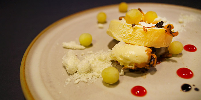 White Chocolate Cream Cheese with Apple & Lemon Sorbet from Le Binchotan in Tanjong Pagar, Singapore