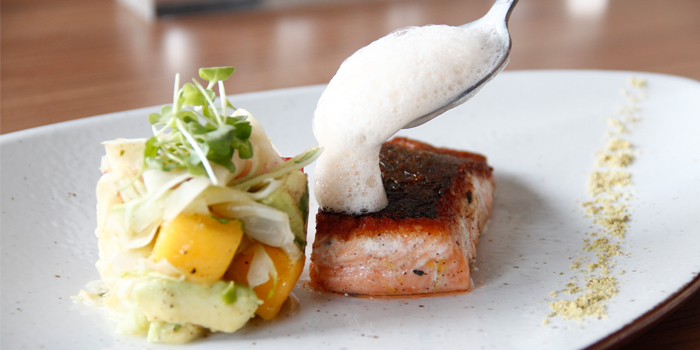 Atlantic Salmon Fillet With Fresh Baby Fennel Salad And Salmon Foam from LUCE Italian Restaurant at Eastin Grand Hotel Sathorn Bangkok, Bangkok