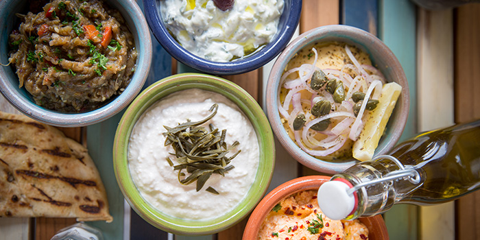 Dips from Bakalaki Greek Taverna on Seng Poh Road in Tiong Bahru, Singapore