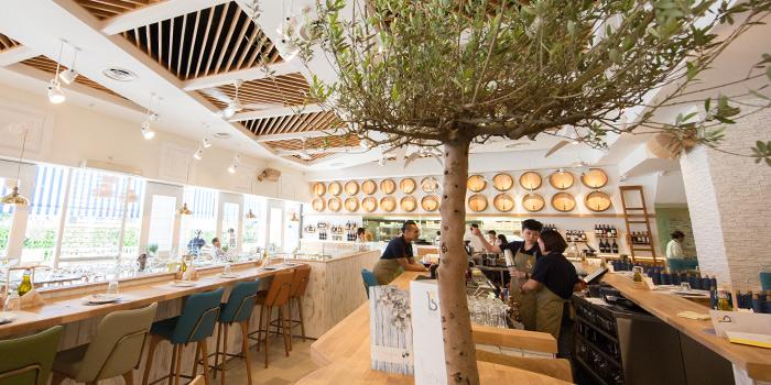Interior of Bakalaki Greek Taverna on Seng Poh Road in Tiong Bahru, Singapore